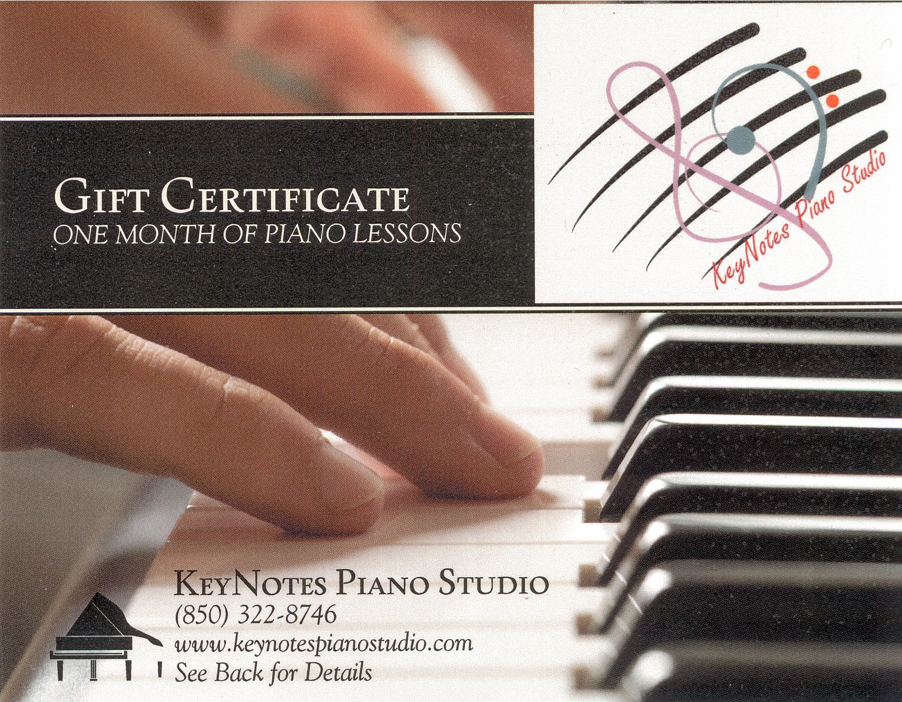 Specials and gift certificates keynotes piano studio beautifully designed gift certificates are available for birthdays holidays or any other special occasion once paid for the gift certificate can be yelopaper Choice Image