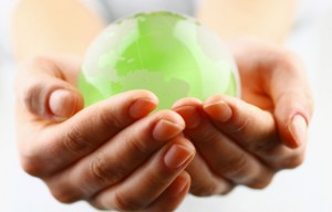 Green Ball in Hands